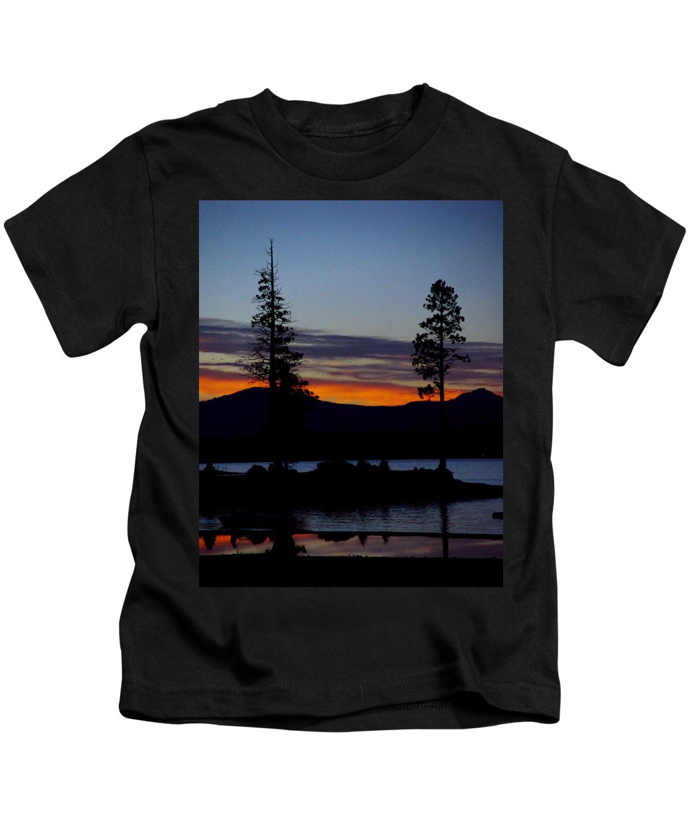 Lake Almanor Kids T-Shirt featuring the photograph Sunset At Lake Almanor by Peter Piatt