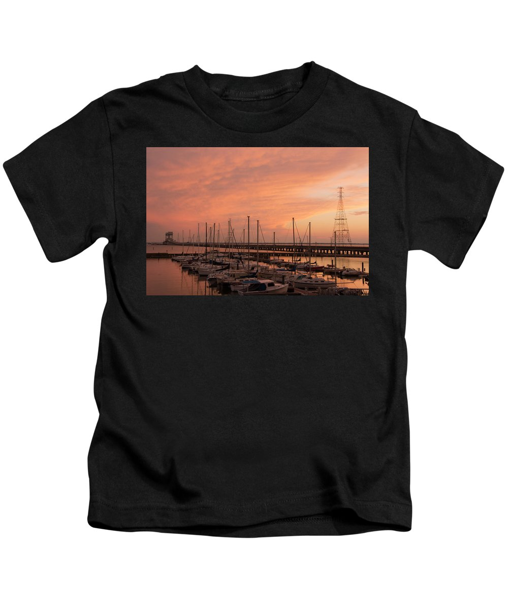 Sunset Kids T-Shirt featuring the photograph Sunset At The Marina by Linda Eszenyi