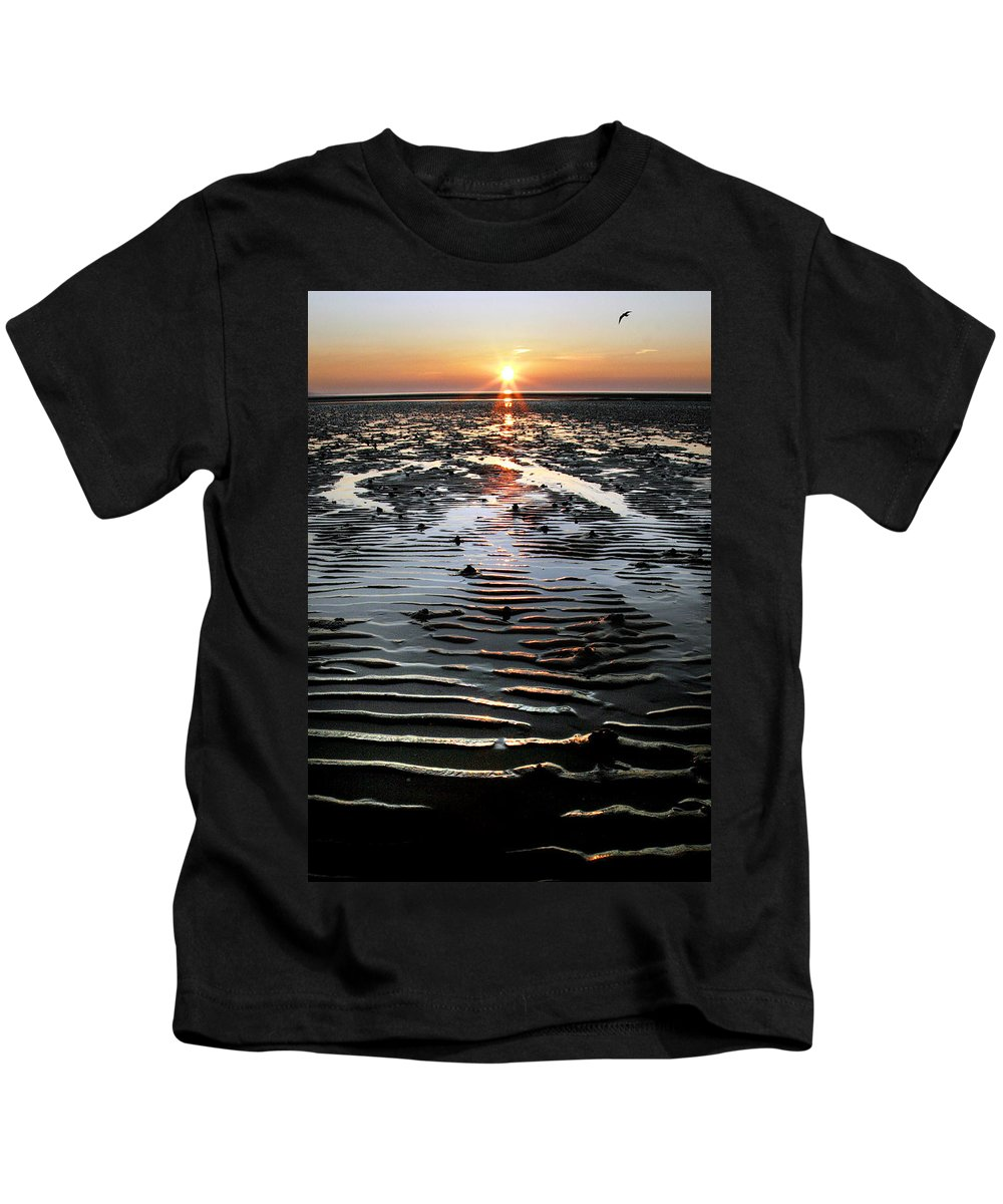 Sunset Kids T-Shirt featuring the photograph Sunset At The West Shore Llandudno by Mal Bray