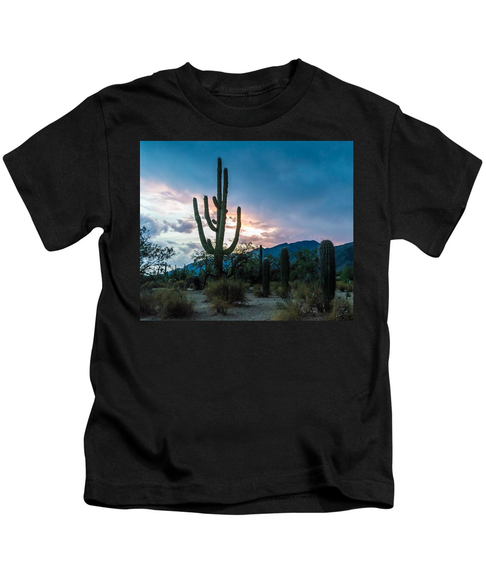 Arizona Kids T-Shirt featuring the photograph Sunset Beyond The Cacti by Ray Sheley