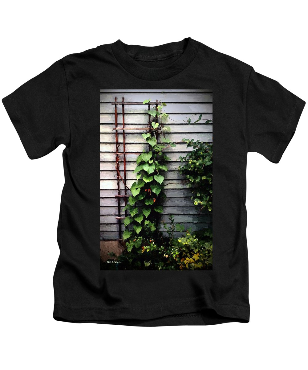 Vines Kids T-Shirt featuring the painting Sunset Climbers by RC DeWinter
