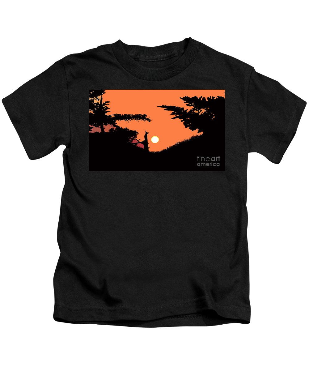 Sunset Kids T-Shirt featuring the painting Sunset by David Lee Thompson