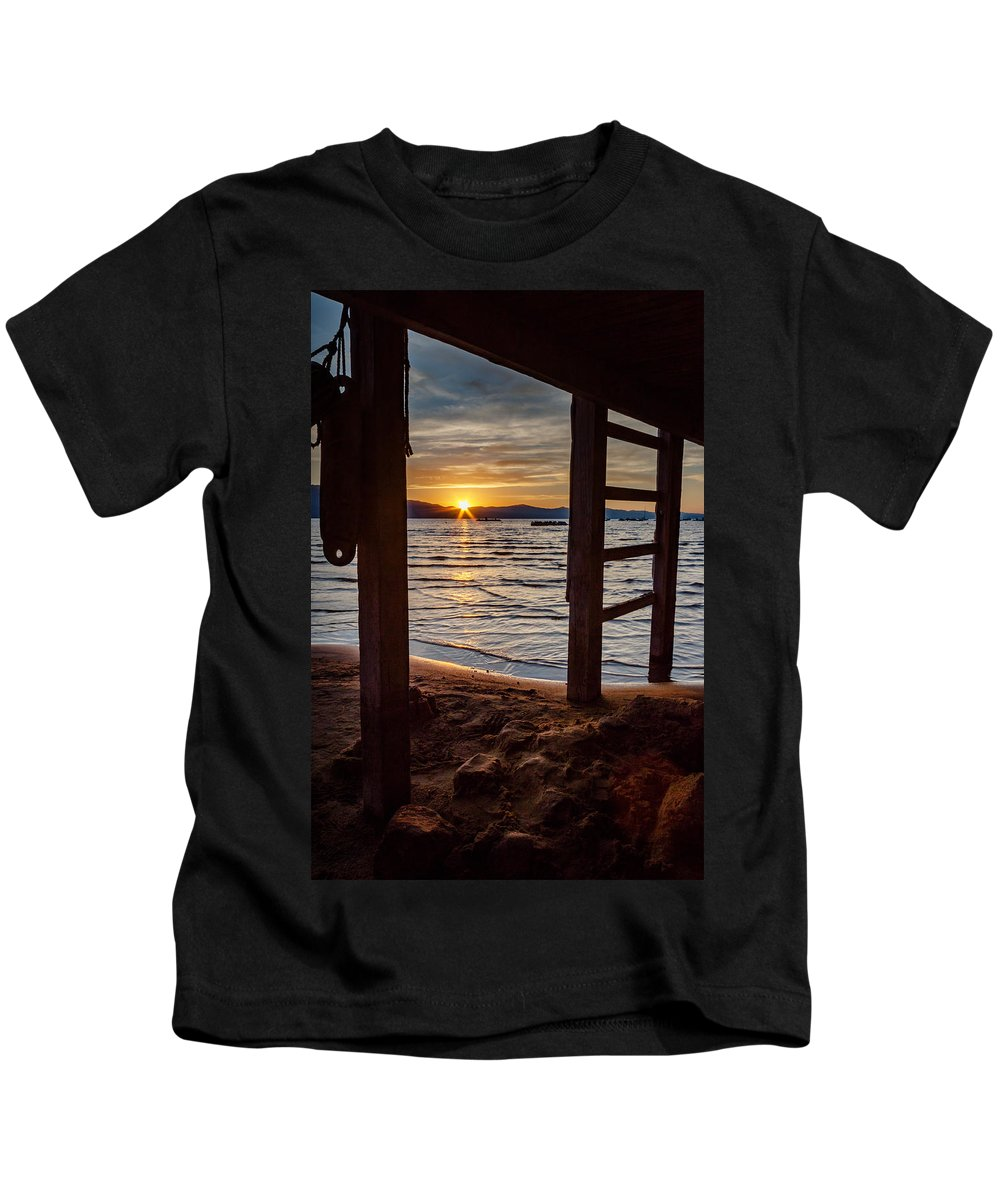 Landscape Kids T-Shirt featuring the photograph Sunset From Beneath The Pier by Mike Herron
