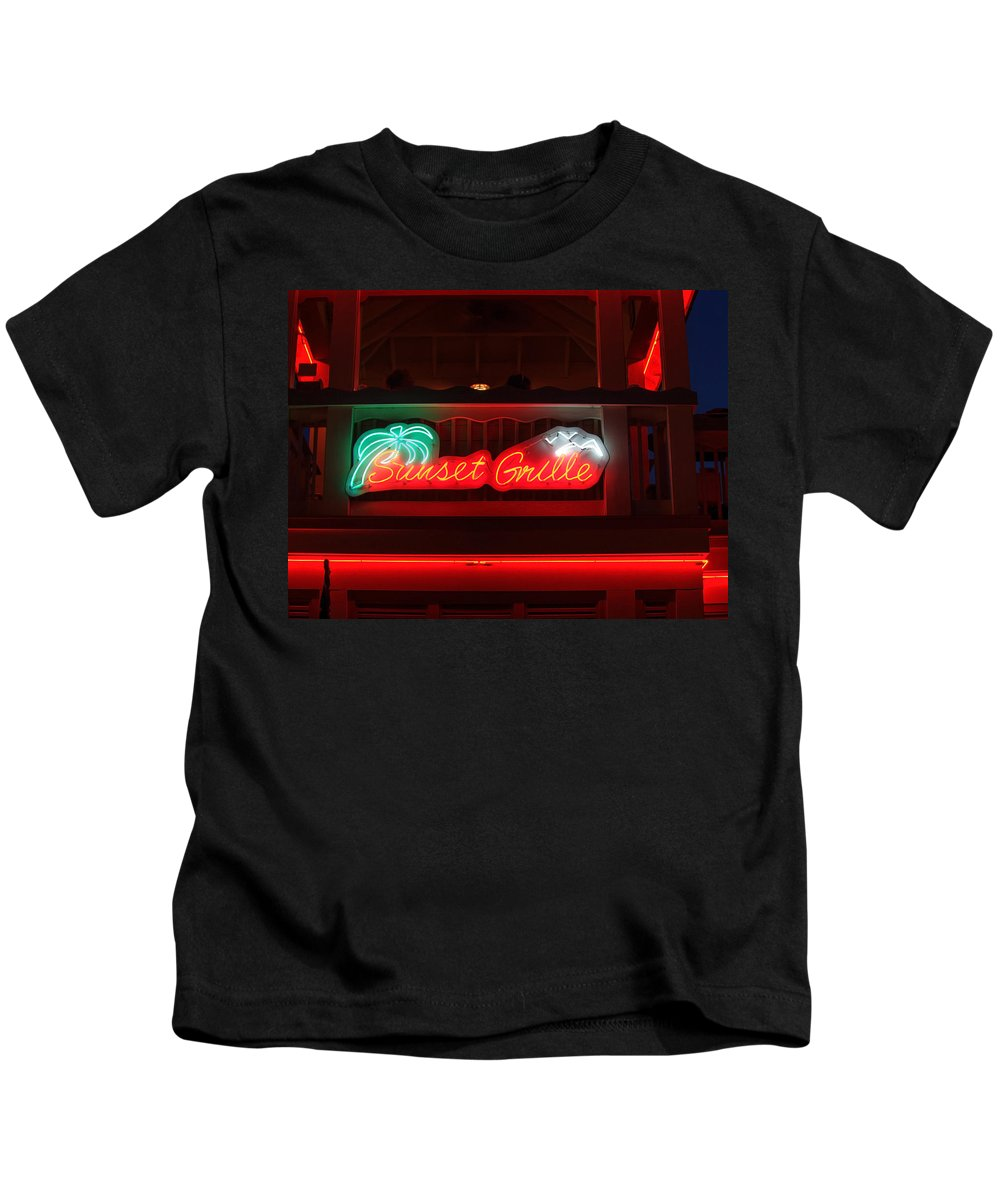 Neon Kids T-Shirt featuring the photograph Sunset Grille by Michael Colgate