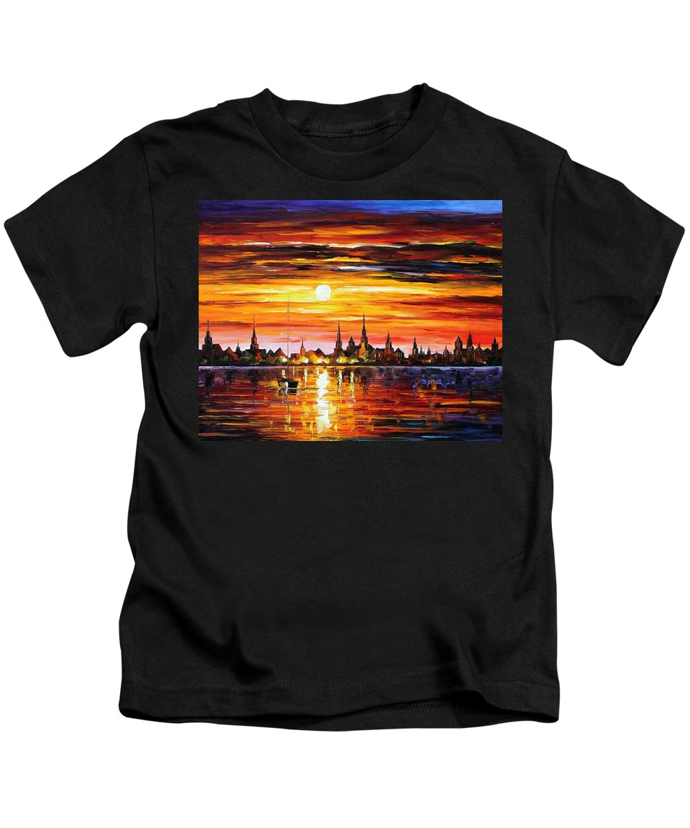 Afremov Kids T-Shirt featuring the painting Sunset In Barcelona by Leonid Afremov