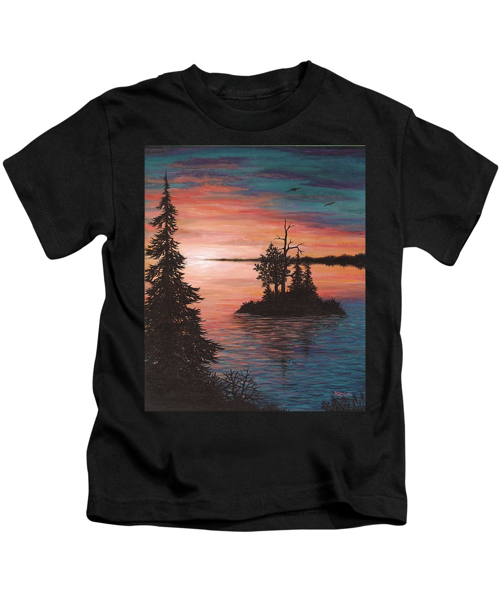 Sunset Kids T-Shirt featuring the painting Sunset Island by Roz Eve
