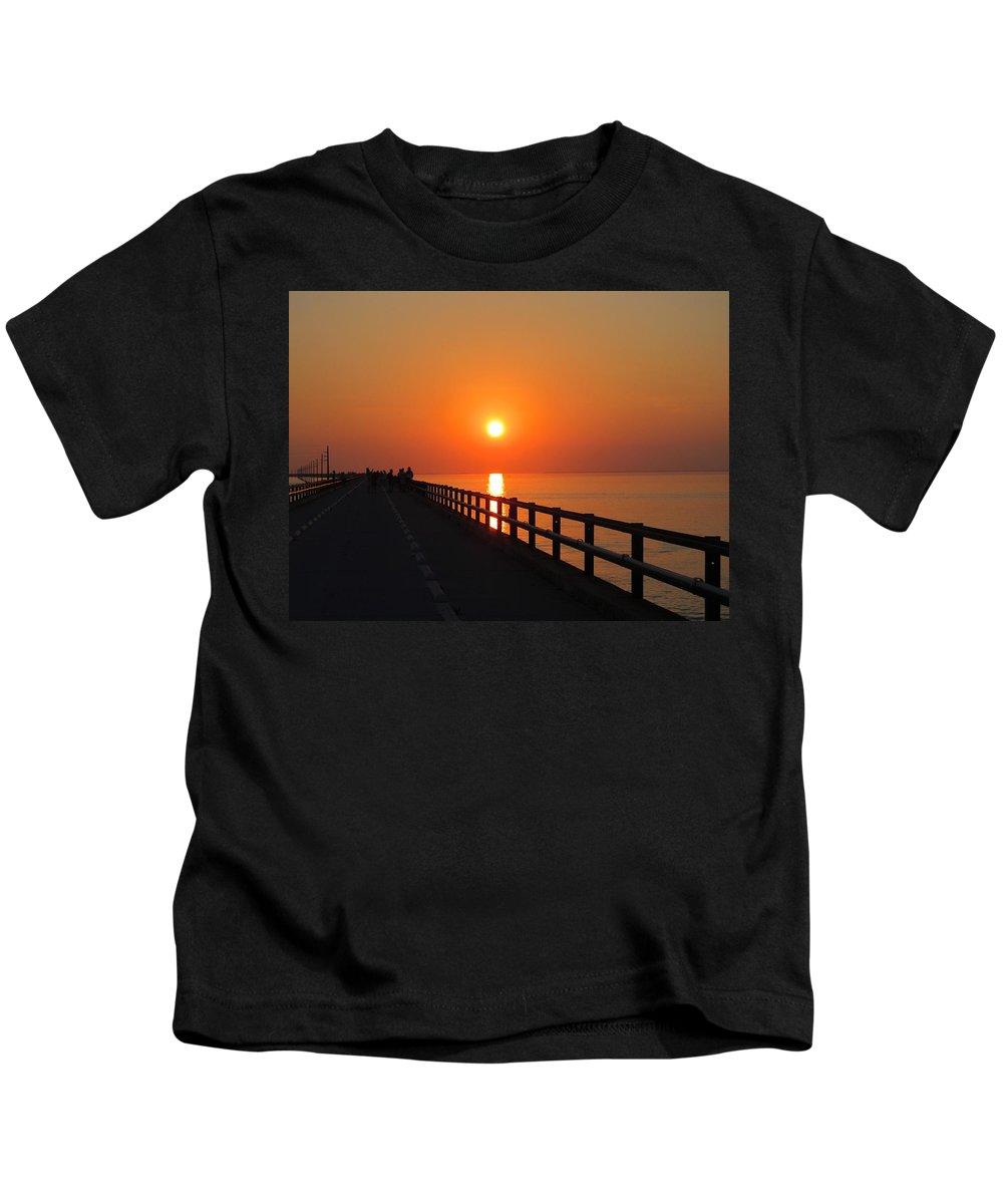 Sunset Kids T-Shirt featuring the painting Sunset Marathon by Deborah Martin