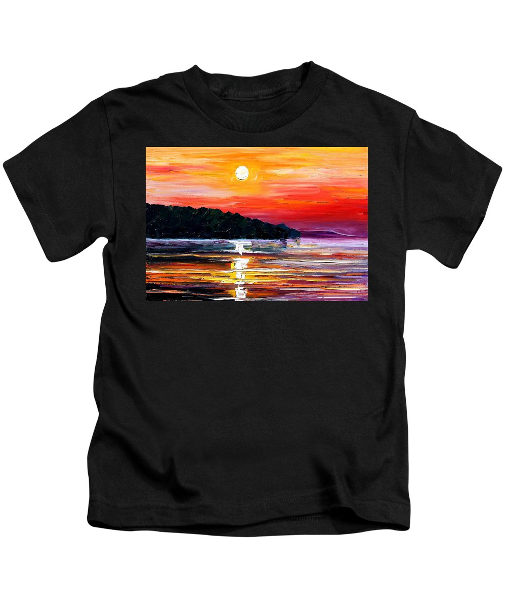 Boat Kids T-Shirt featuring the painting Sunset Melody by Leonid Afremov