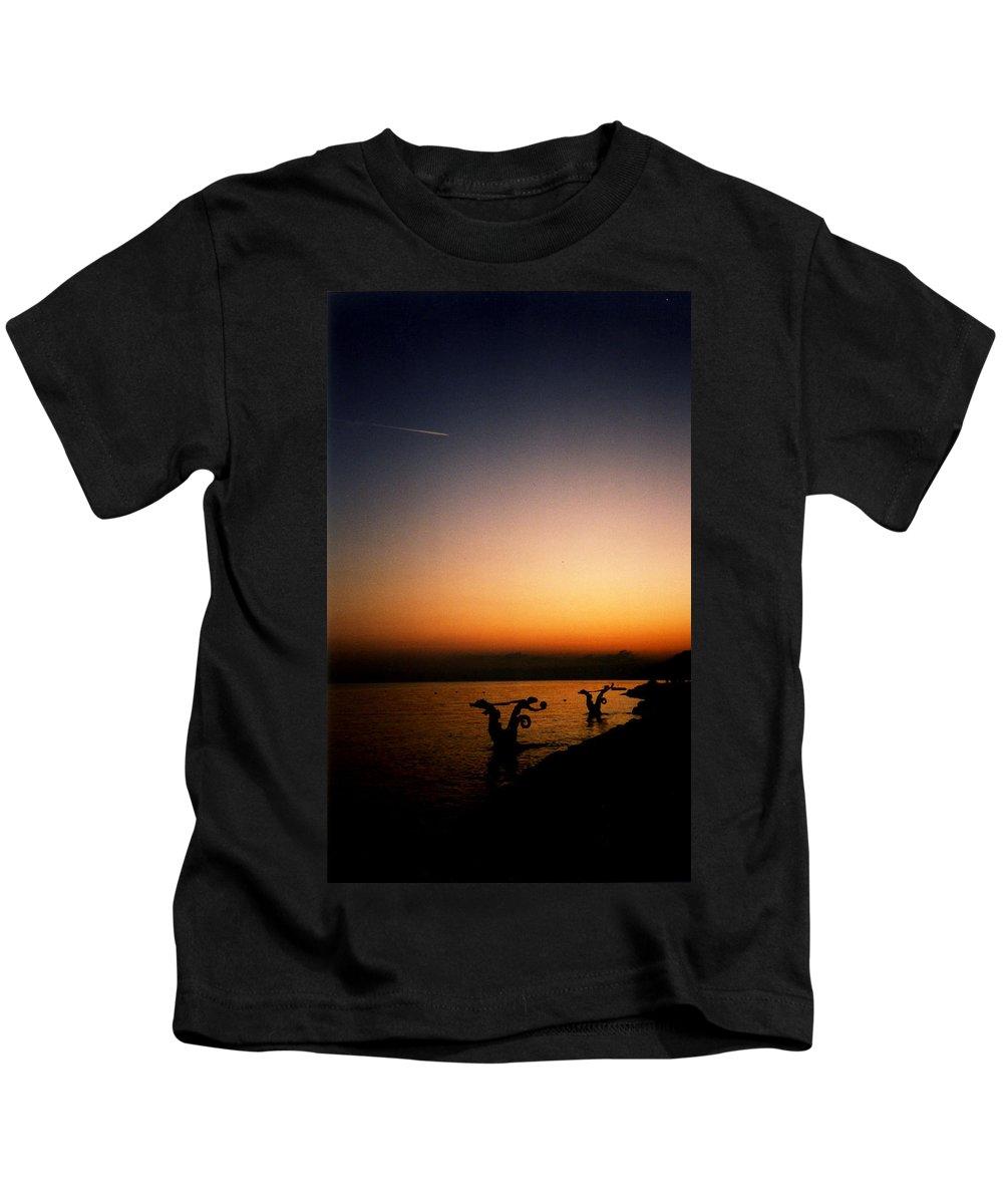 Sunset On Lake Geneva Kids T-Shirt featuring the photograph Sunset On Lake Geneva by Catt Kyriacou