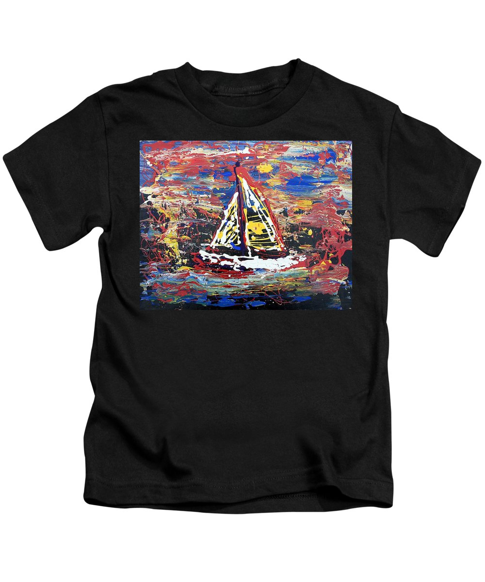 Sailboat Kids T-Shirt featuring the painting Sunset On The Lake by J R Seymour