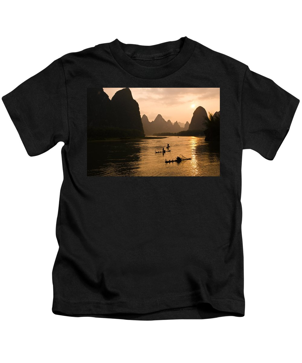 Asia Kids T-Shirt featuring the photograph Sunset On The Li River by Michele Burgess
