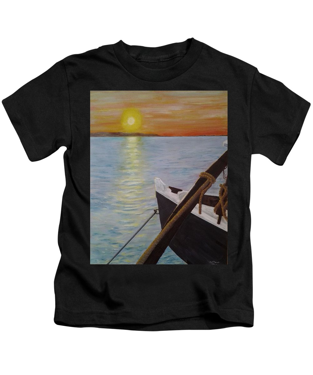 Seascape Kids T-Shirt featuring the painting Sunset On The York River by Angel Figueroa
