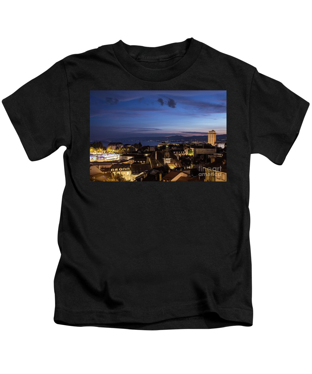 Europe Kids T-Shirt featuring the photograph Sunset Over Lausanne  by Didier Marti
