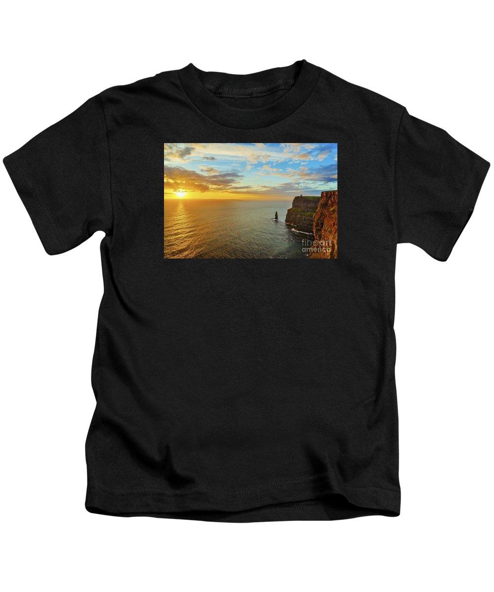 Sunset Kids T-Shirt featuring the photograph sunset over the Aran Islands by Niall Cosgrove