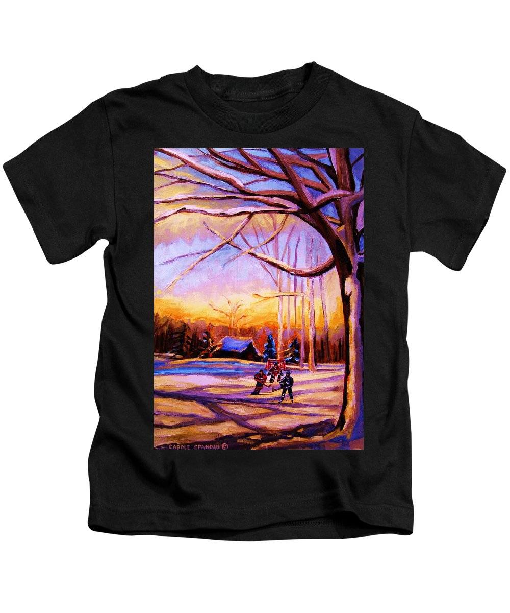 Sunset Over Hockey Kids T-Shirt featuring the painting Sunset Over The Hockey Game by Carole Spandau