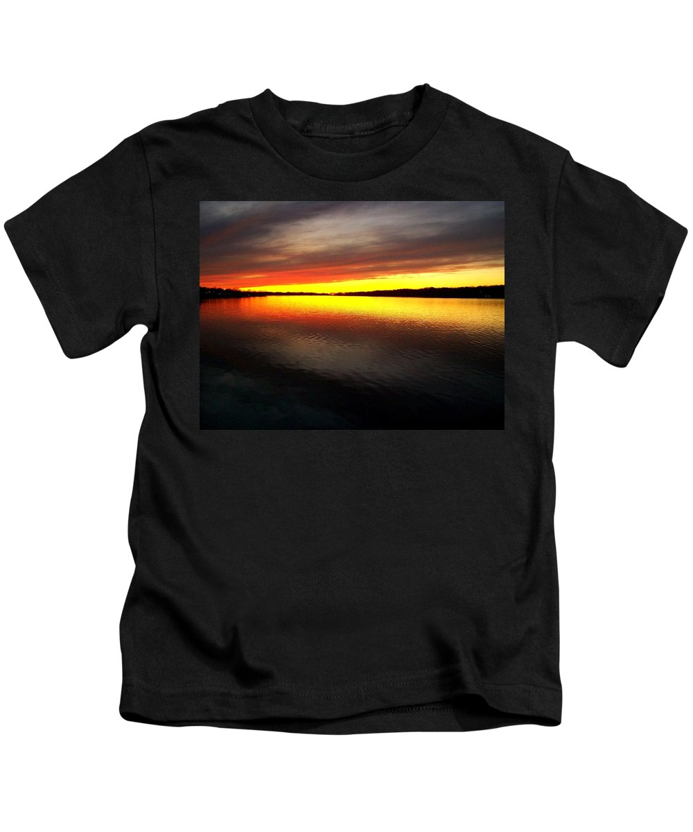 Gold Kids T-Shirt featuring the photograph Sunset Over The Lake by Michelle Calkins