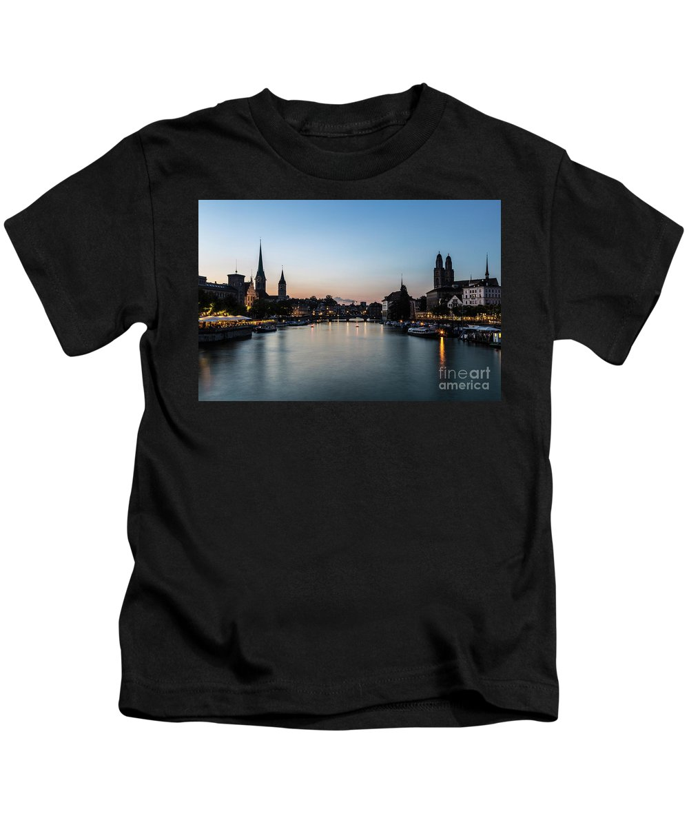 Europe Kids T-Shirt featuring the photograph Sunset Over Zurich by Didier Marti