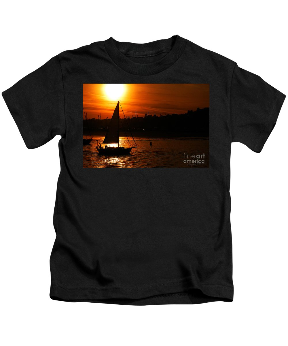 Clay Kids T-Shirt featuring the photograph Sunset Sailing by Clayton Bruster