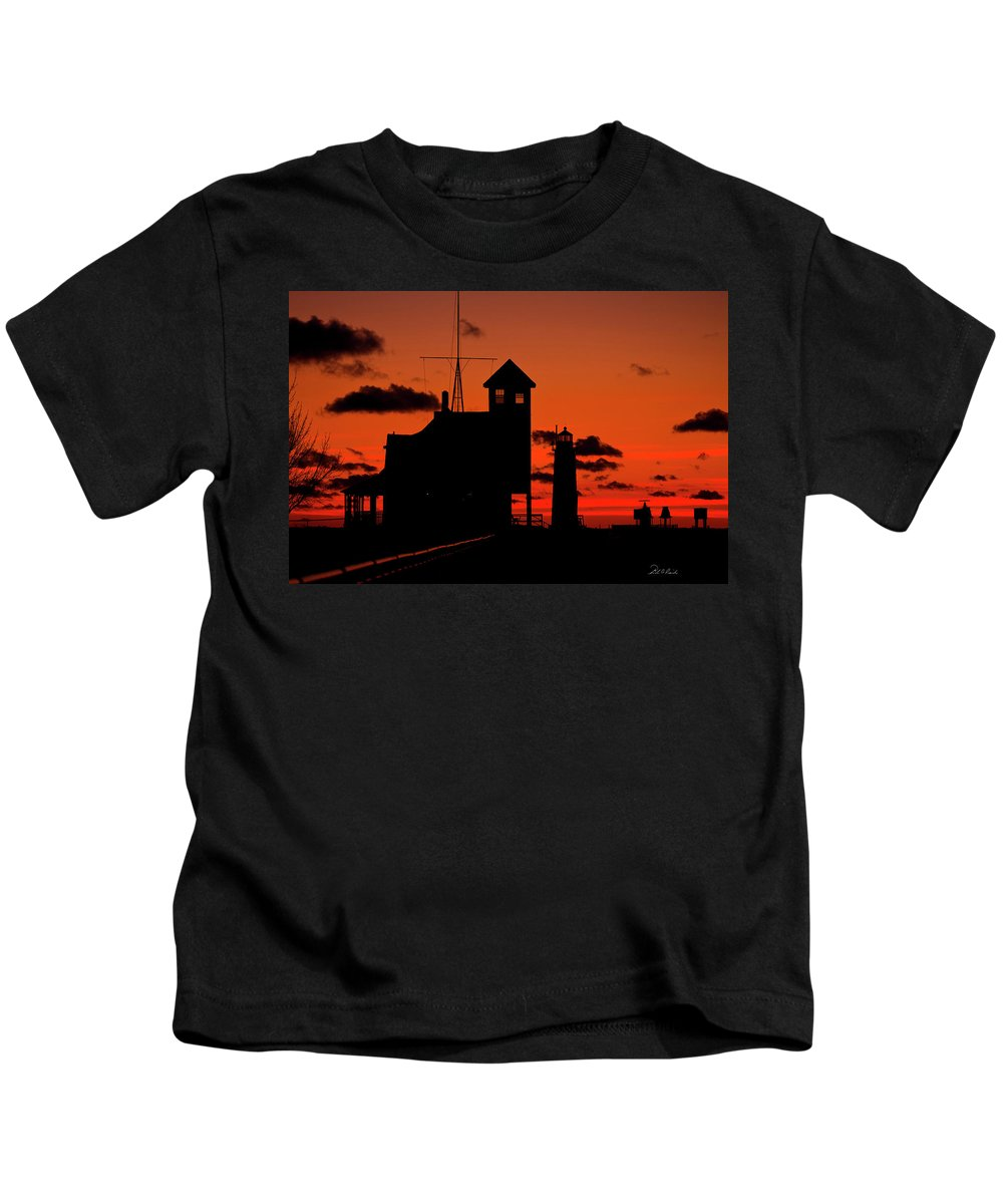 Photography Kids T-Shirt featuring the photograph Sunset Silhouette by Frederic A Reinecke