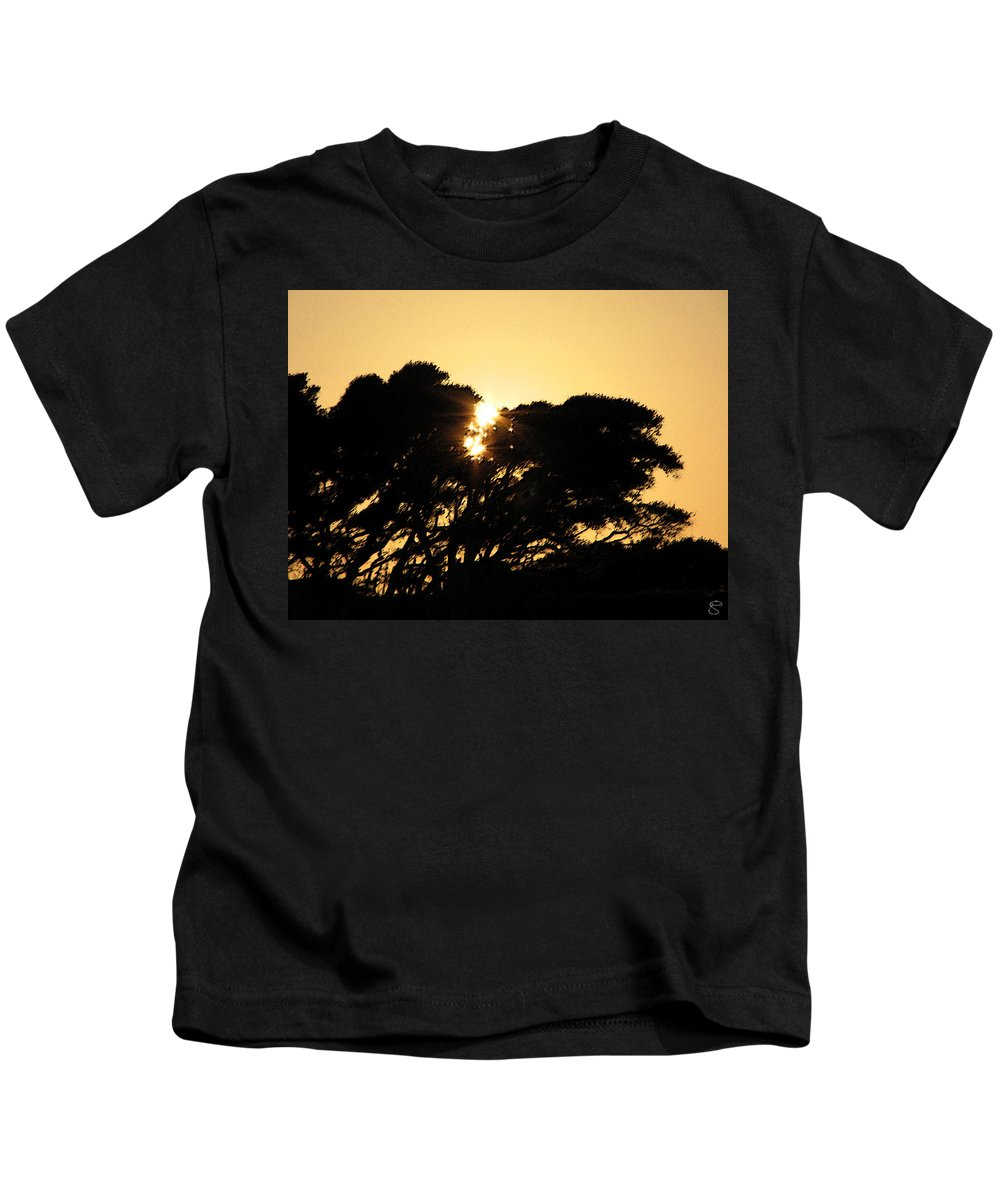 Tree Kids T-Shirt featuring the digital art Sunset Silhouette II by Stacey May