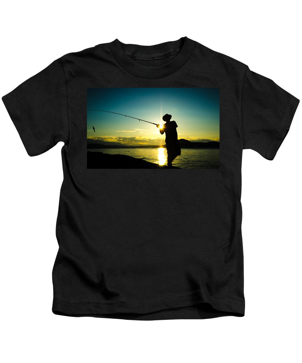 Fishing Kids T-Shirt featuring the photograph Sunset Silhouette by Roxy Hurtubise