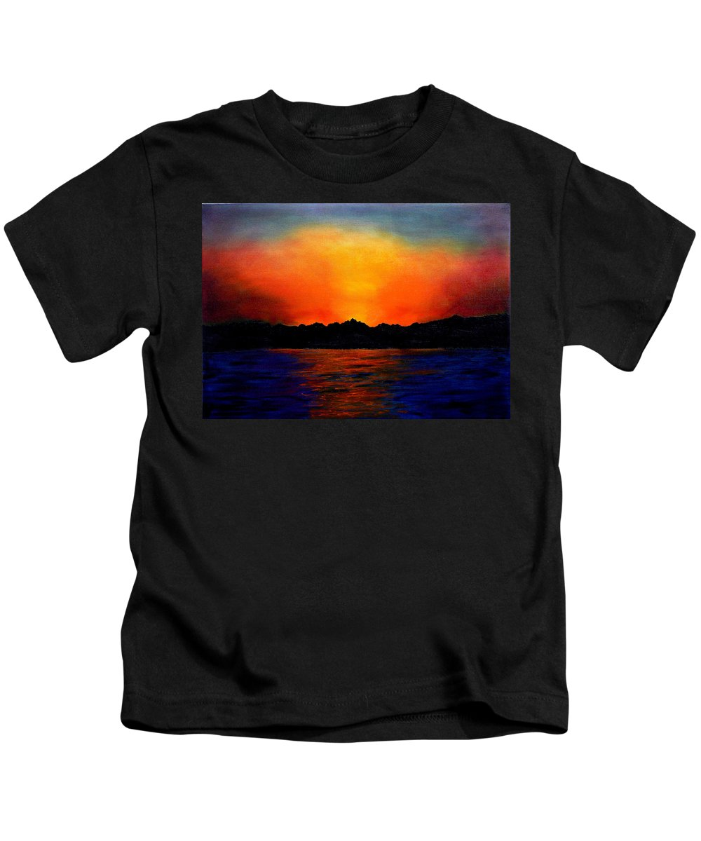 Sinai Sunset Kids T-Shirt featuring the painting Sunset Sinai by Helmut Rottler