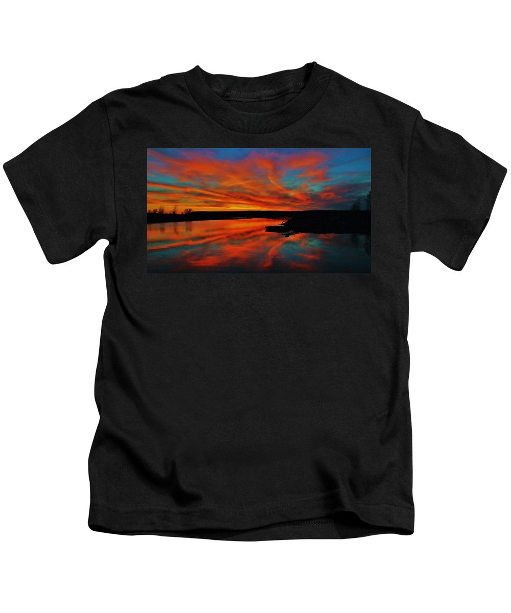 Sunset Kids T-Shirt featuring the photograph Sunset Sky Over Wilson Lake, Ks by Greg Rud