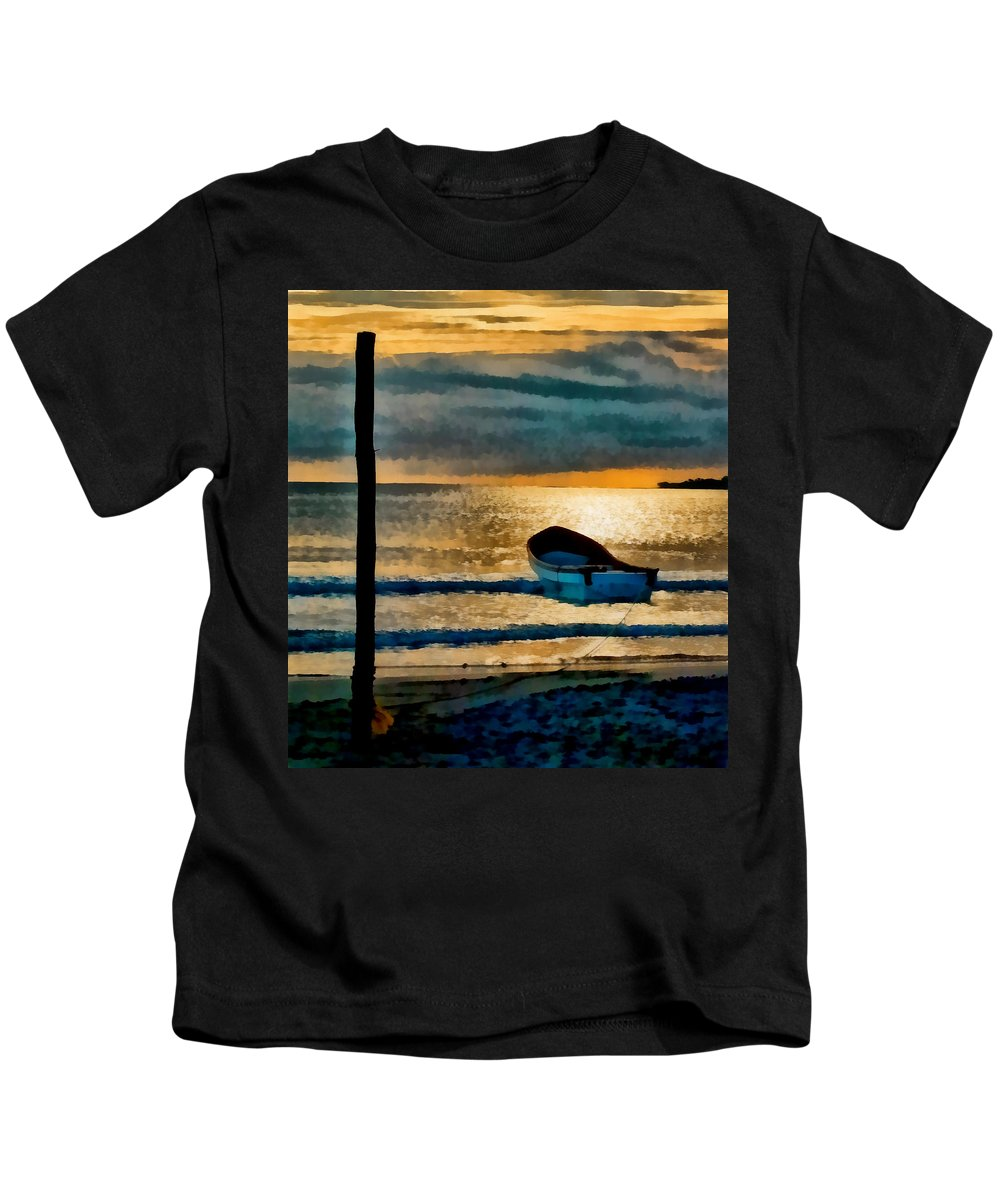 Sunset Kids T-Shirt featuring the photograph Sunset With Boat by Galeria Trompiz