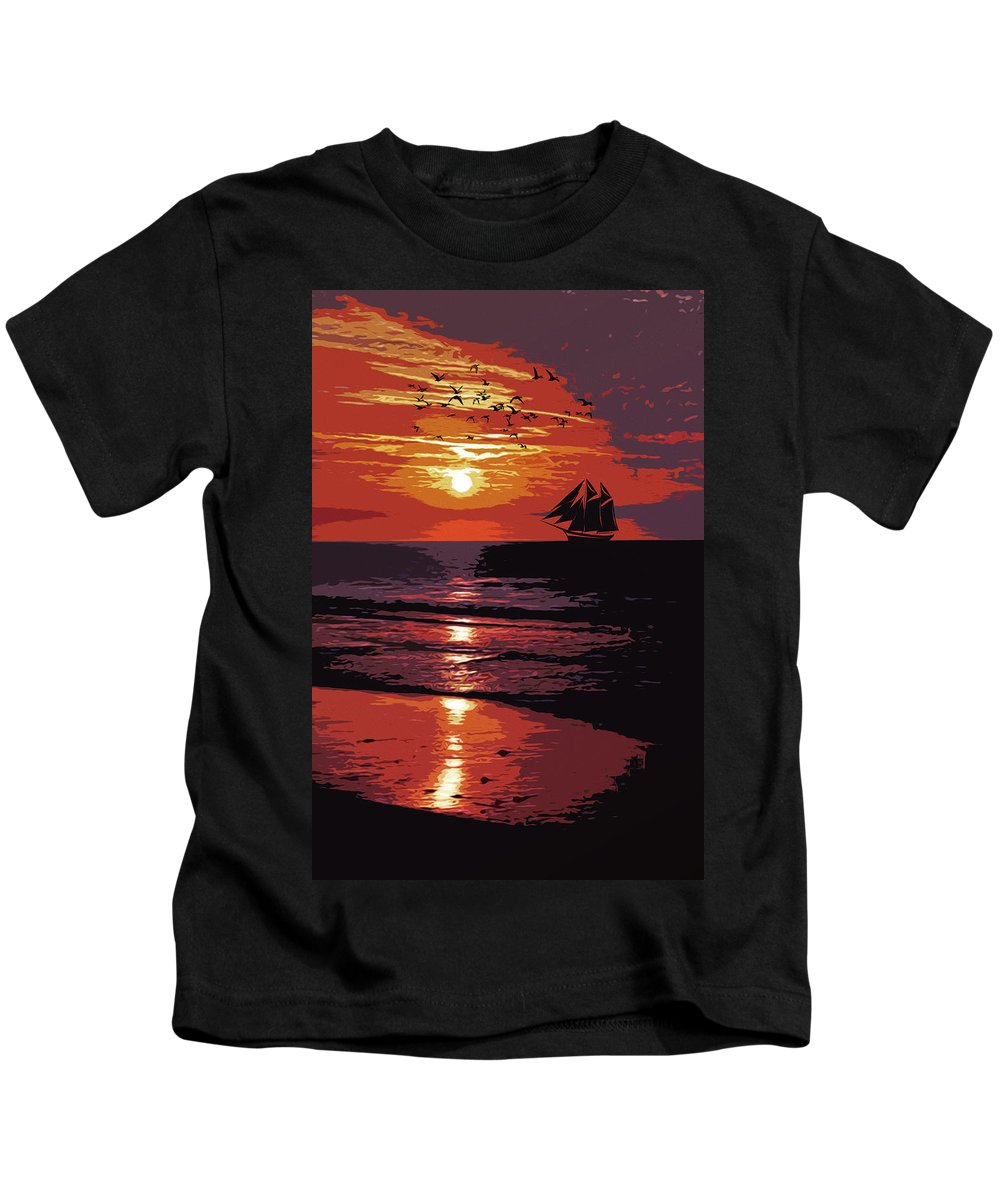Sea Kids T-Shirt featuring the painting Sunset - Wonder Of Nature by Andrea Mazzocchetti