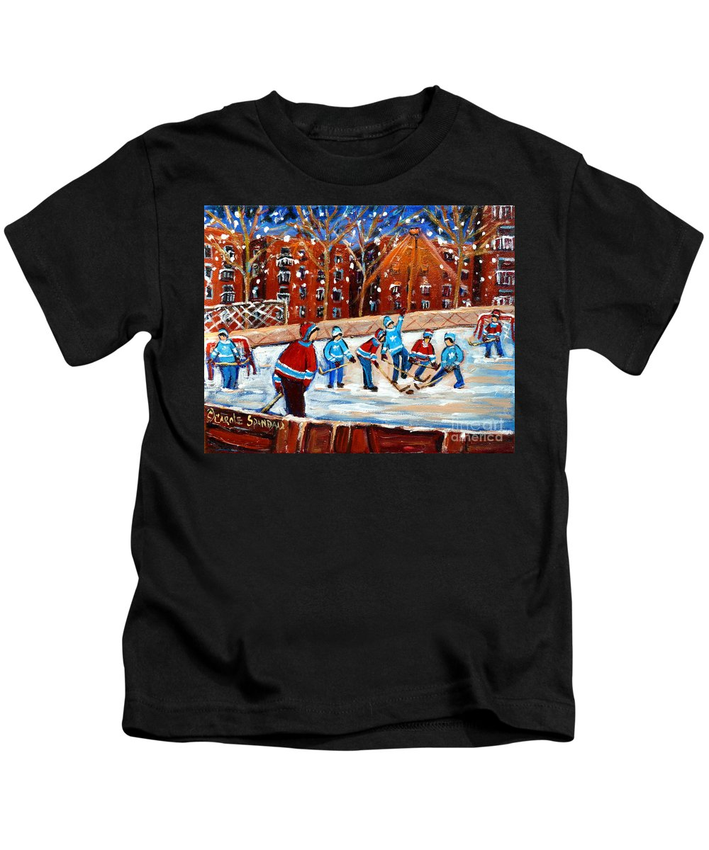 Kids Playing Hockey Kids T-Shirt featuring the painting Sunsetting On My Street by Carole Spandau