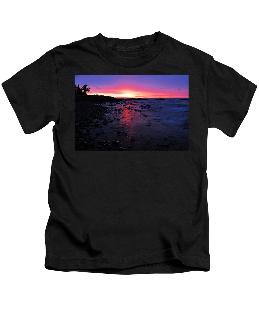 Lake Superior Kids T-Shirt featuring the photograph Superior Dawn by Larry Ricker