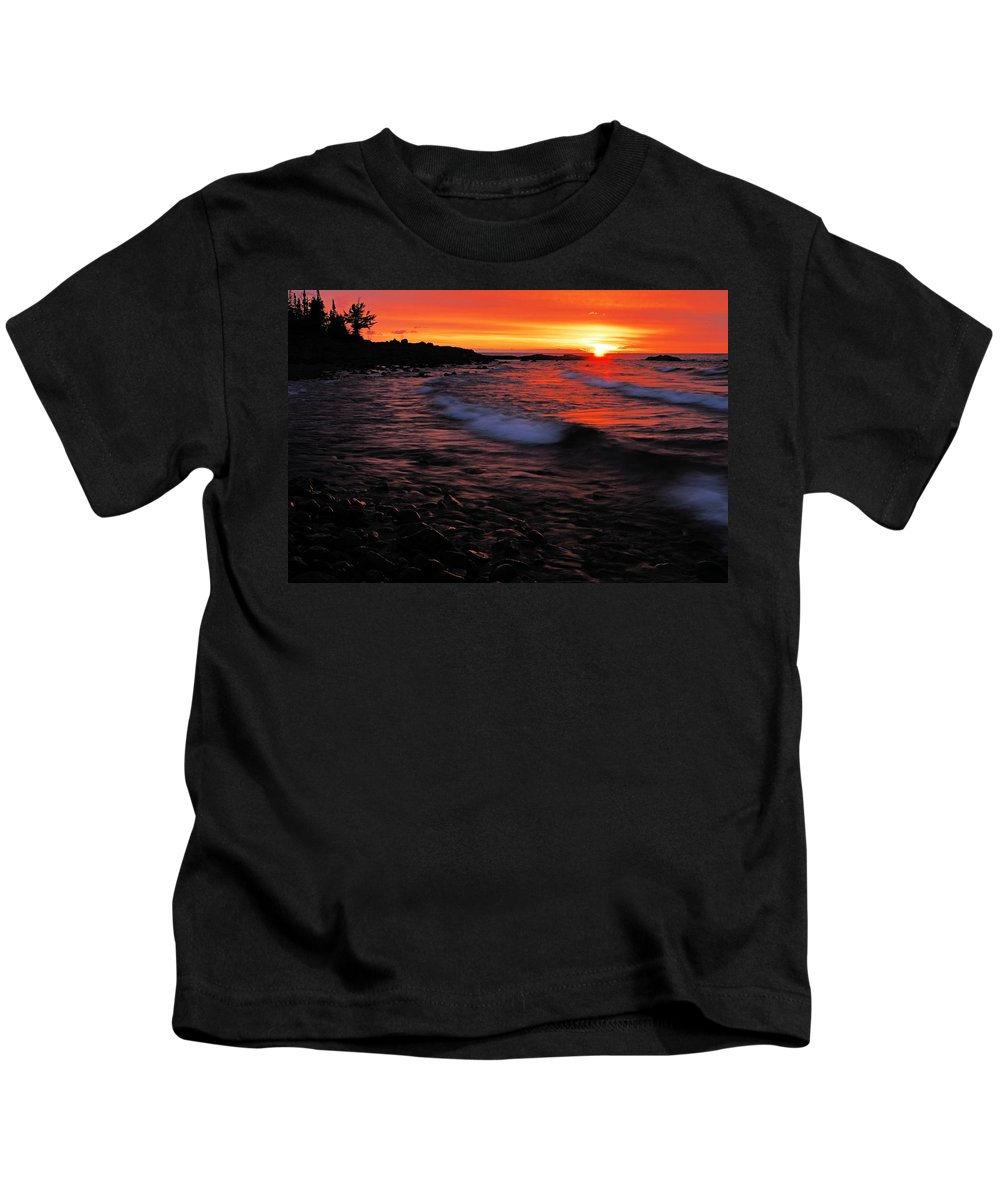 Split Rock Lighthouse State Park Kids T-Shirt featuring the photograph Superior Sunrise 2 by Larry Ricker