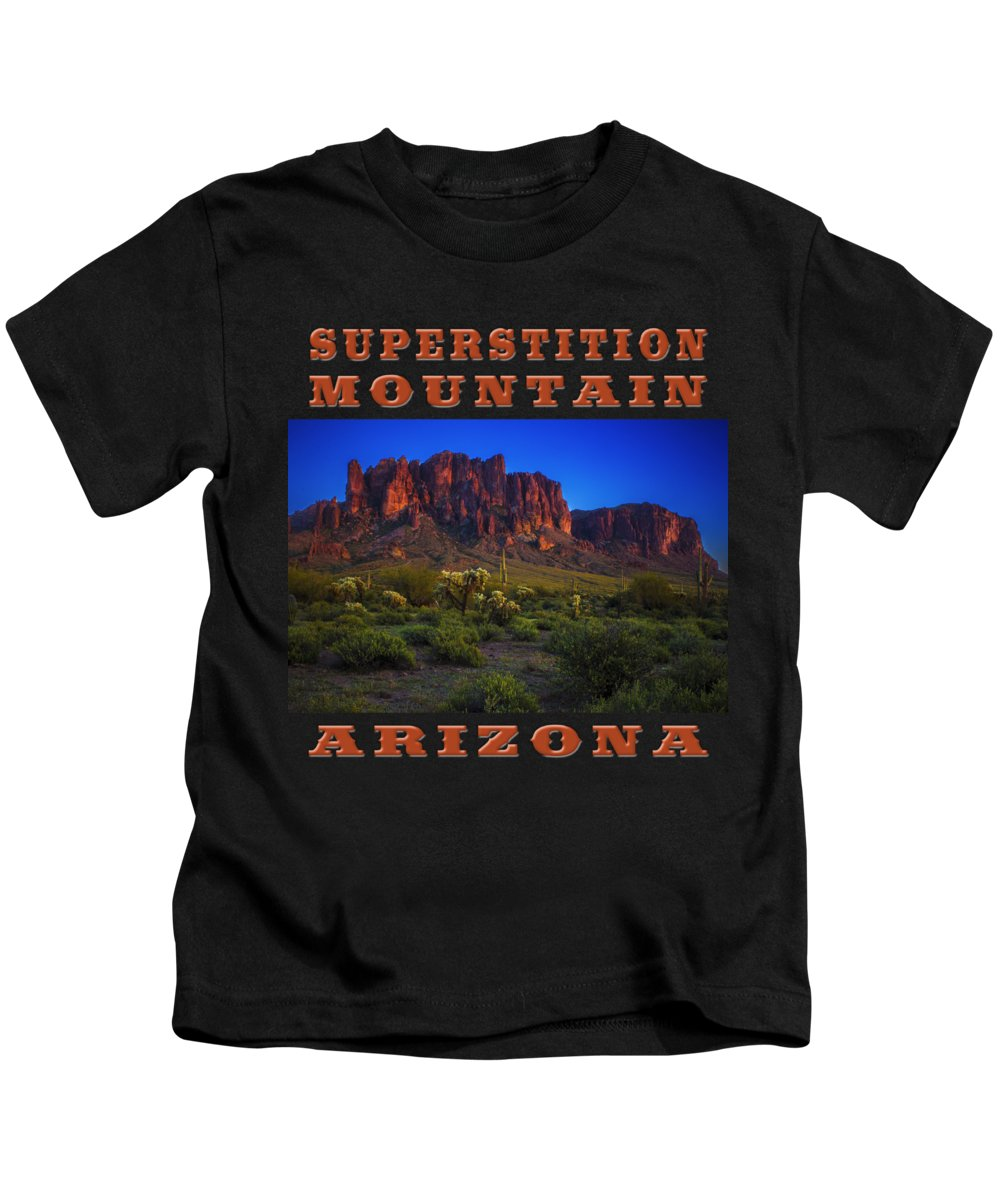 Arizona Kids T-Shirt featuring the photograph Superstition Mountain Sunset by Roger Passman