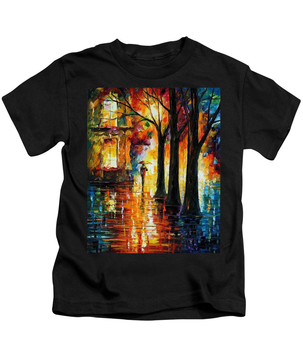 Afremov Kids T-Shirt featuring the painting Suppressed Memories by Leonid Afremov