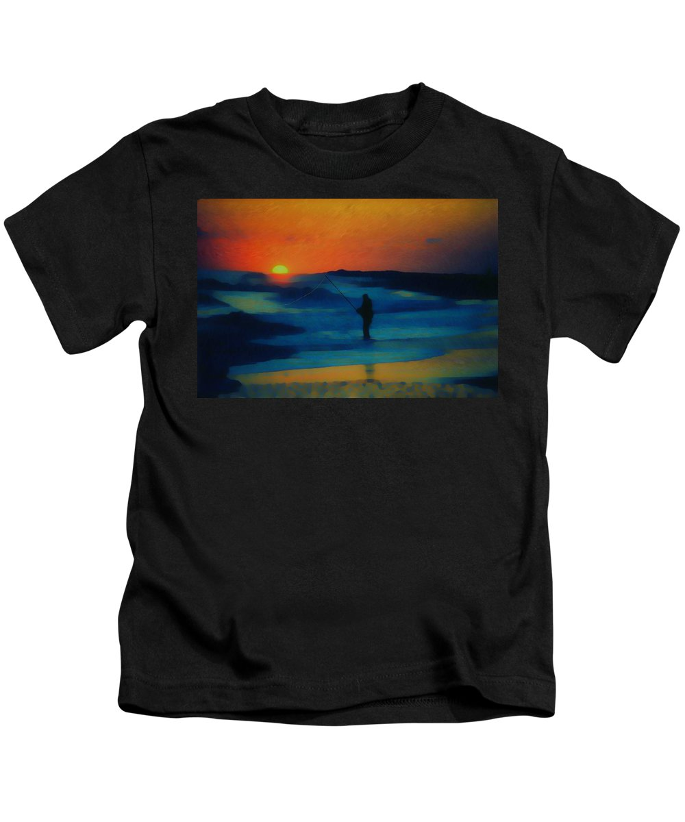 Digital Photograph Kids T-Shirt featuring the photograph Surf Fishing by David Lane
