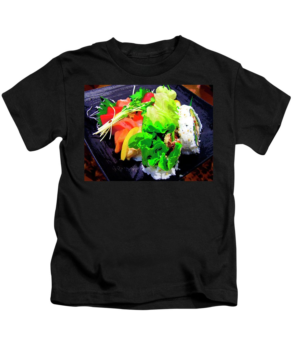 Sushi Plate Kids T-Shirt featuring the mixed media Sushi Plate 5 by Dominic Piperata
