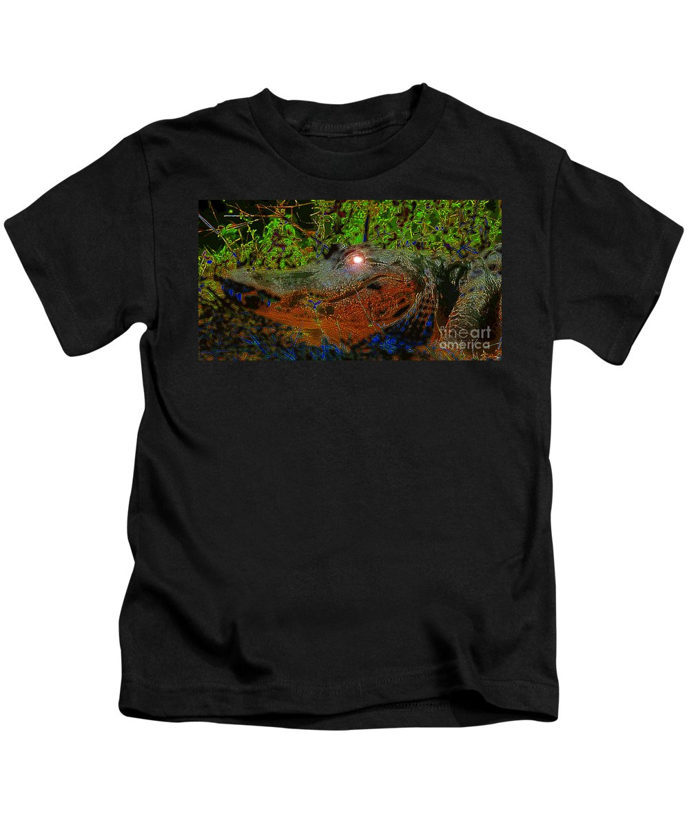 Art Kids T-Shirt featuring the painting Swampthing Out There by David Lee Thompson
