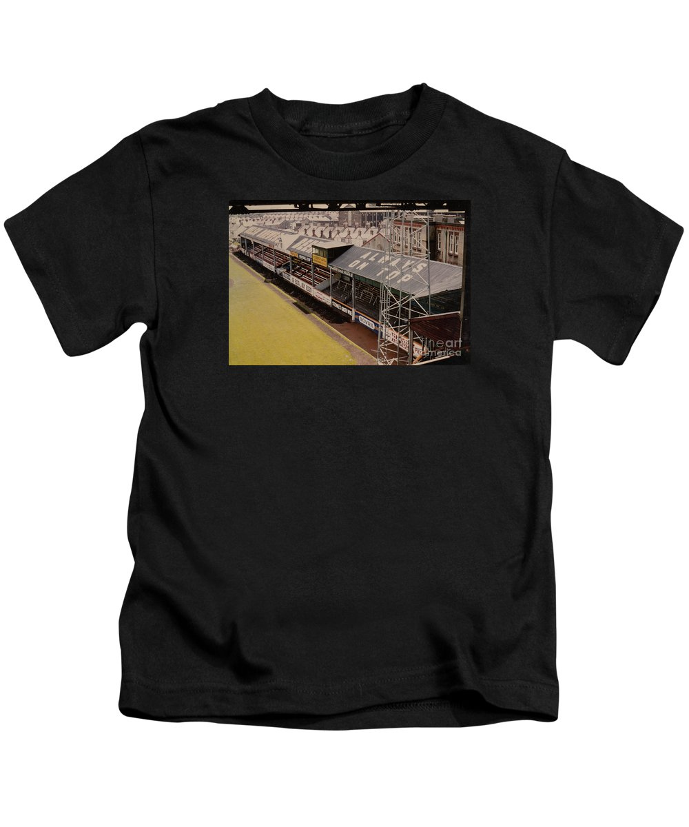 Kids T-Shirt featuring the photograph Swansea - Vetch Field - North Bank 3 - 1970s by Legendary Football Grounds