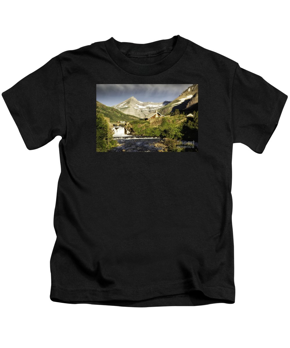 Glacier Kids T-Shirt featuring the photograph Swiftcurrent Falls Glacier Park by Timothy Hacker