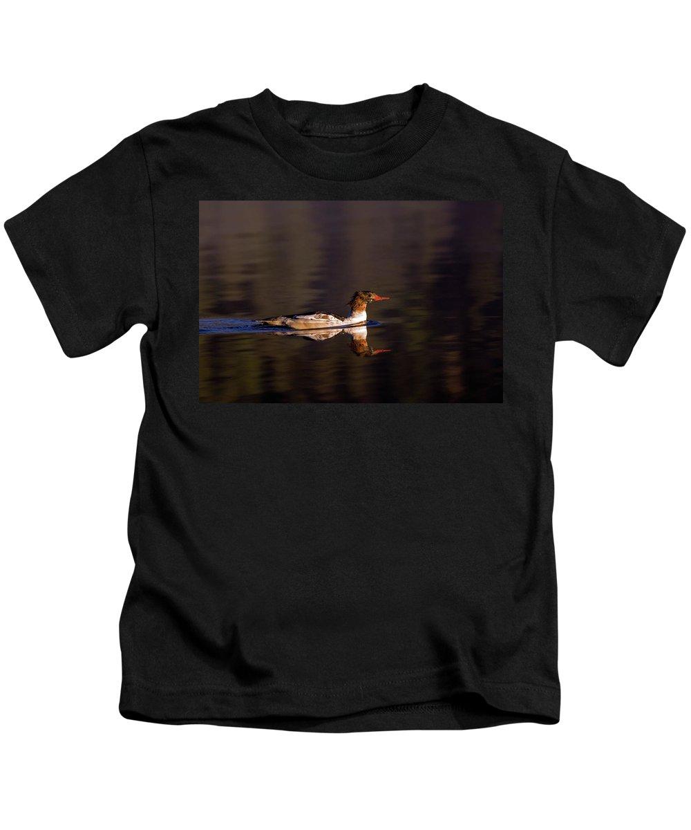 Animal Kids T-Shirt featuring the photograph Swimming Female Merganser - Odell Lake Oregon by Randall Ingalls