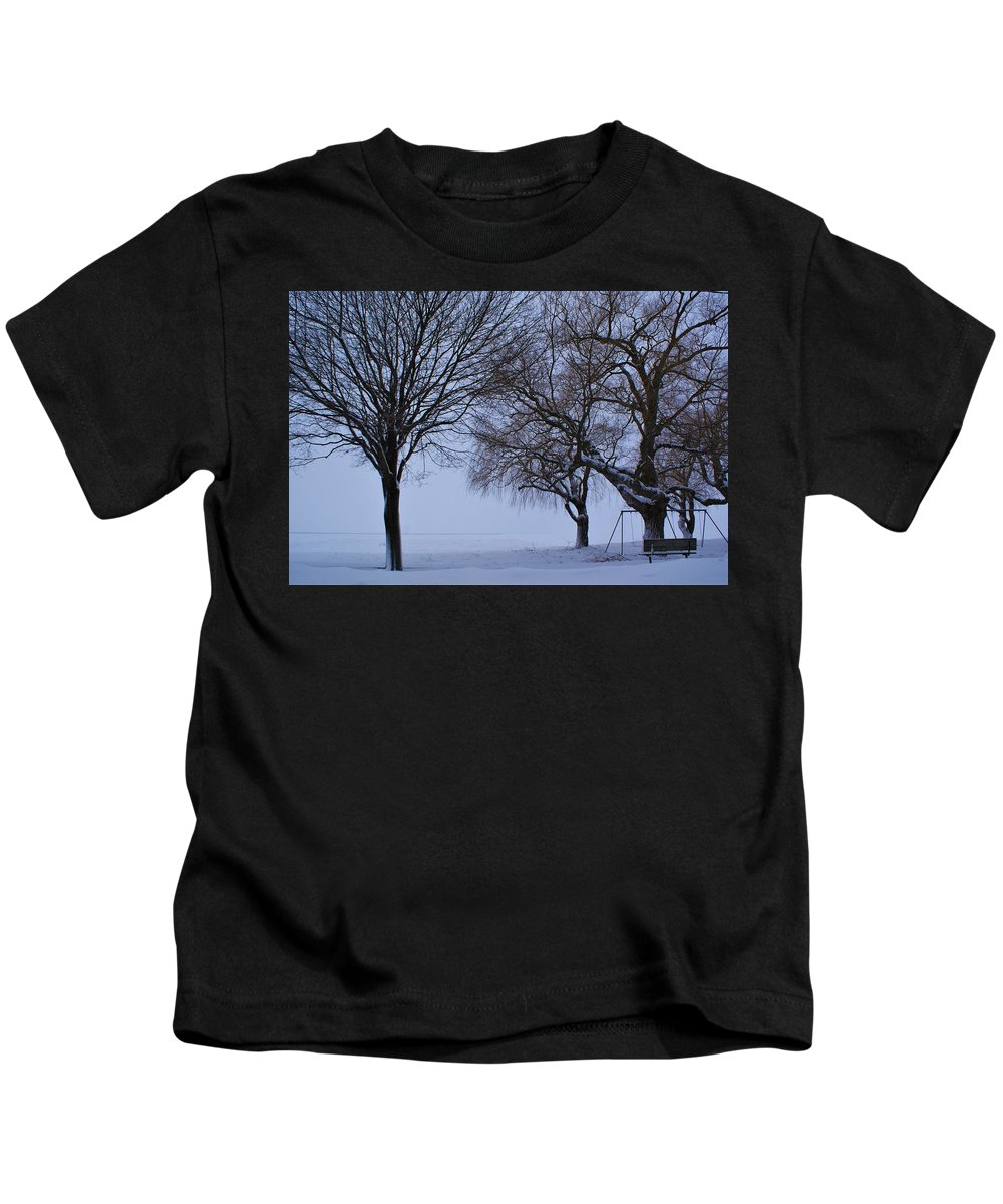 Winter Snow Swing Bench Park Lake Huron Canada Trees Kids T-Shirt featuring the photograph Swing In Winter by The Sangsters