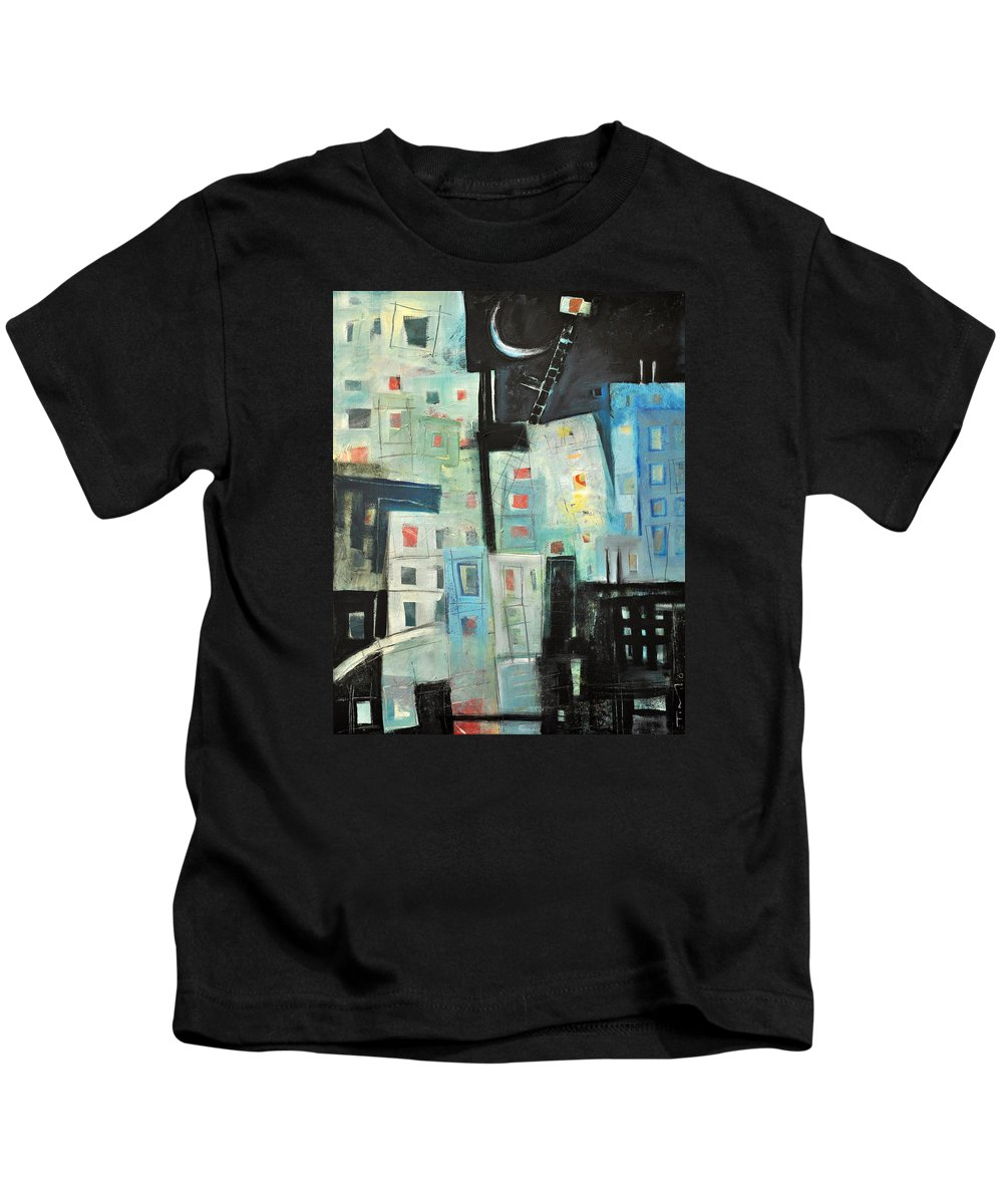 Buildings Kids T-Shirt featuring the painting Swing Shift by Tim Nyberg