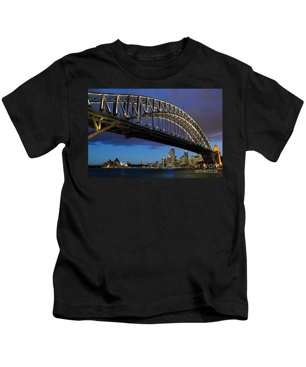Amaze Kids T-Shirt featuring the photograph Sydney Harbor Bridge by Dana Edmunds - Printscapes