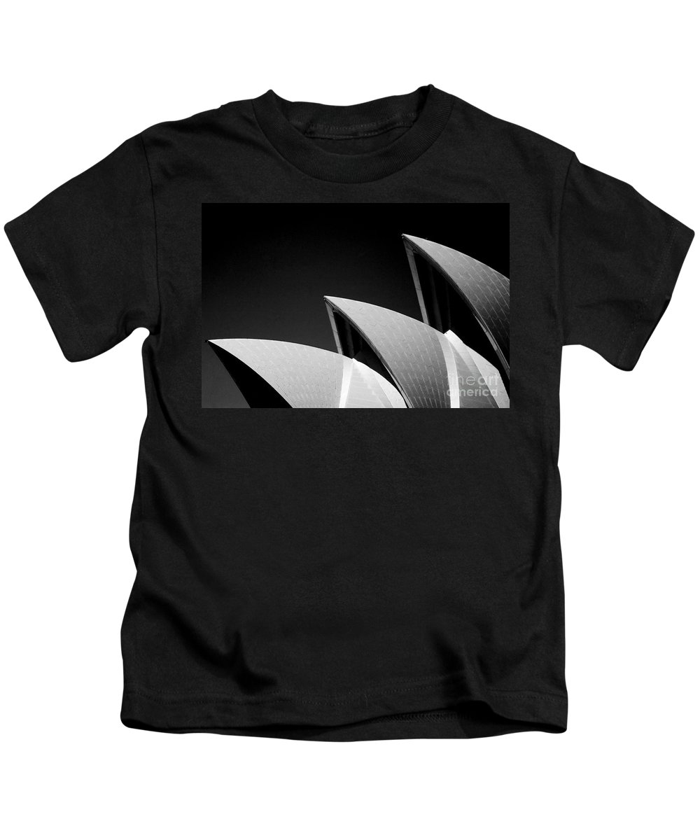 Sydney Opera House Iconic Building Black And White Monochrome Kids T-Shirt featuring the photograph Sydney Opera House by Sheila Smart Fine Art Photography