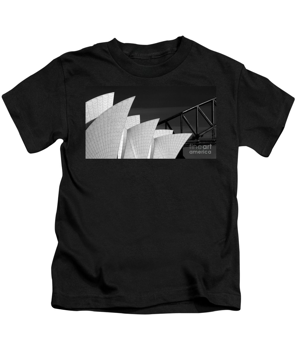 Sydney Opera House Kids T-Shirt featuring the photograph Sydney Opera House with bridge backdrop by Sheila Smart Fine Art Photography