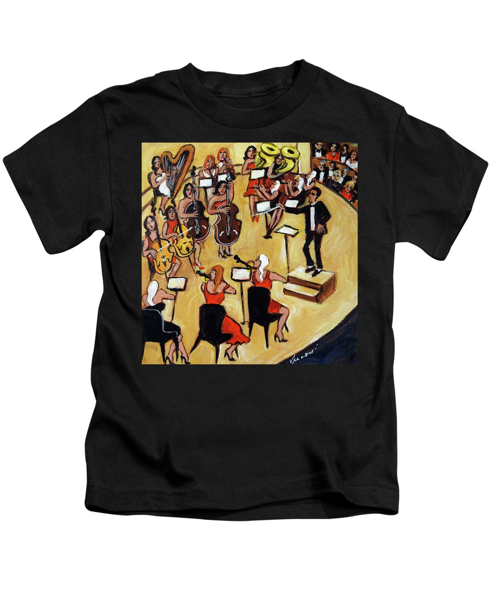 Carnegie Hall Orchestra Kids T-Shirt featuring the painting Symphony by Valerie Vescovi