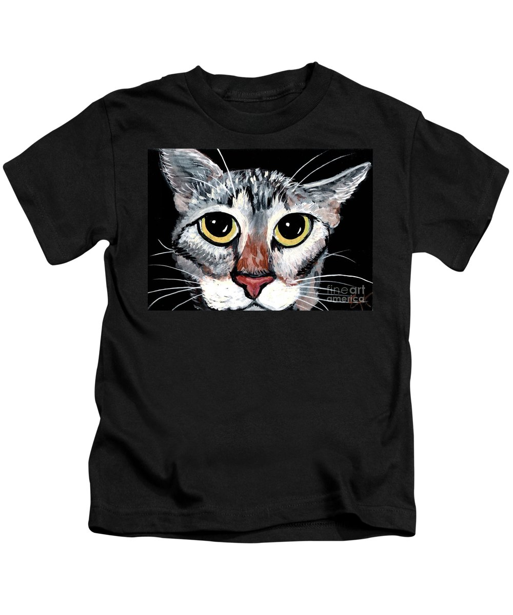 Cat Kids T-Shirt featuring the painting Tabby Eyes by Elaine Hodges
