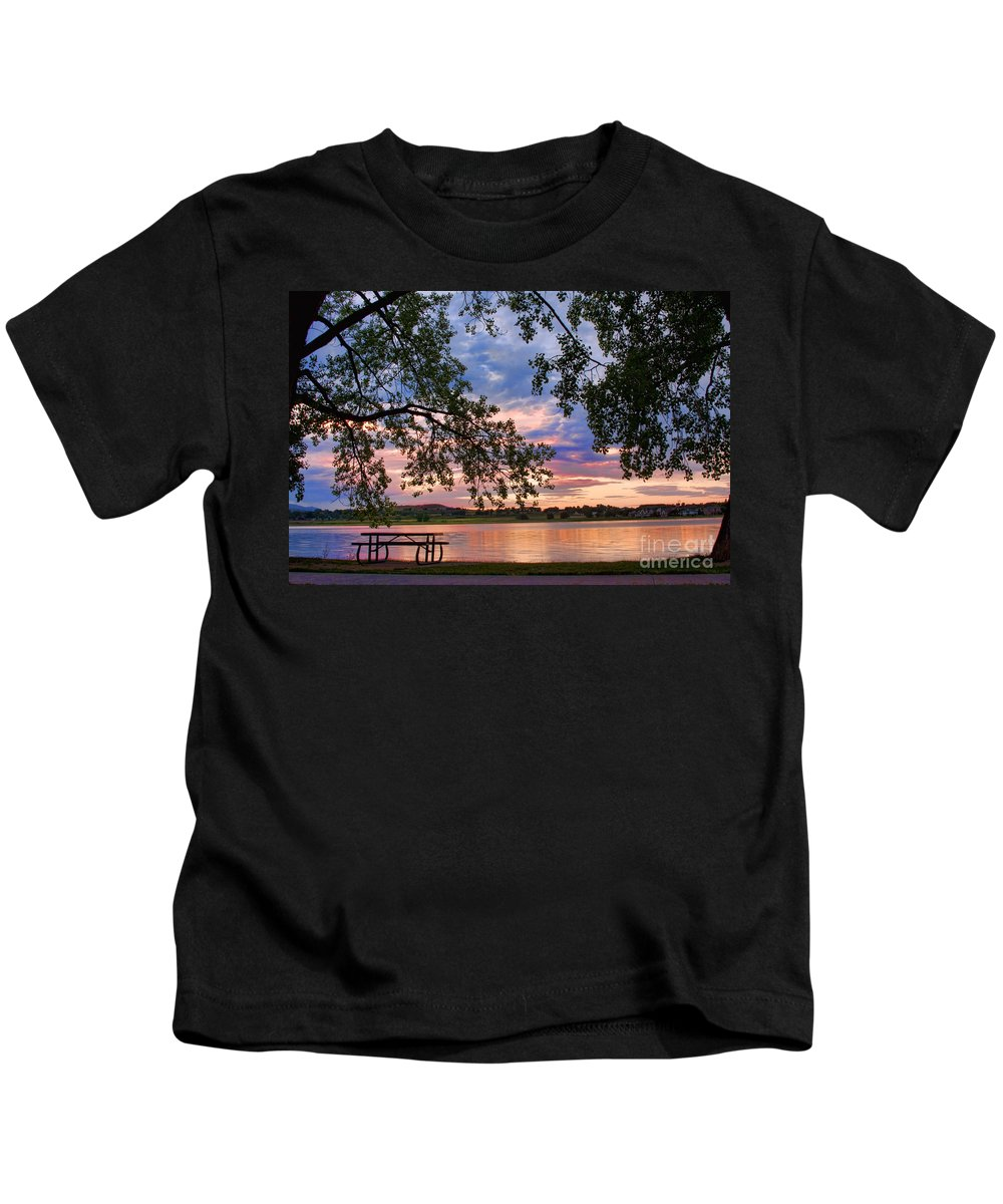 Lake Kids T-Shirt featuring the photograph Table For Four With A View by James BO Insogna
