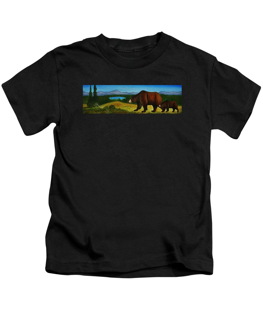Grizzly Bear Kids T-Shirt featuring the painting Taggart Lake Bears by Lucy Deane