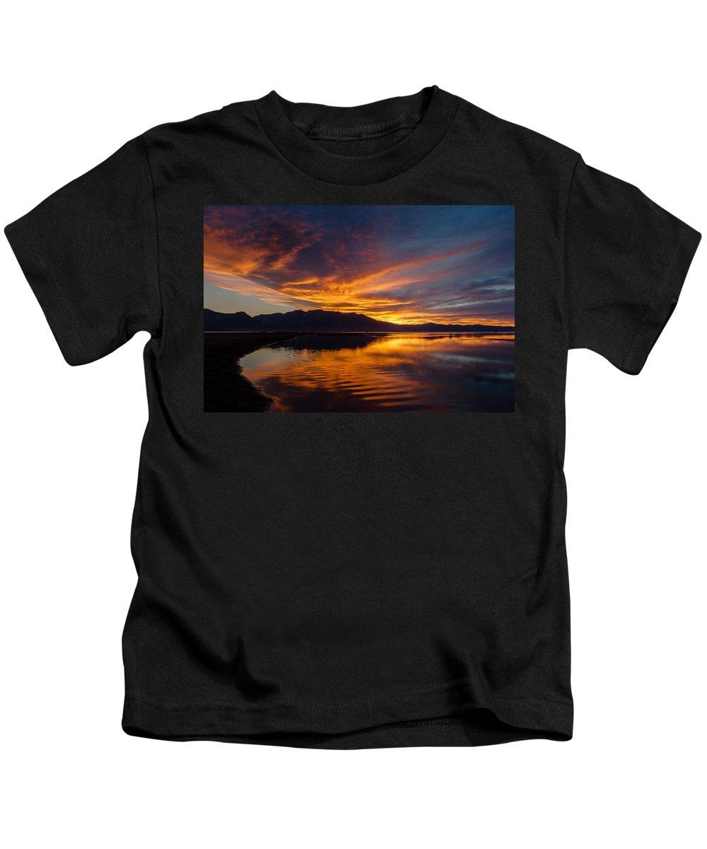 Sunset Kids T-Shirt featuring the photograph Tahoe Sunset Luminosity by Mike Herron